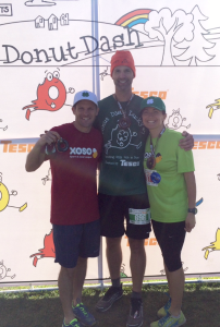 L to R - Scott Abbott, Zack Wandell, Katie Abbott. Donut Dash Lucky #7